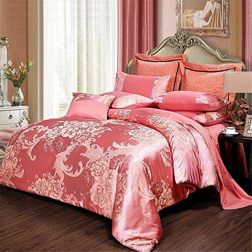 RFVBNM Bettwäsche Bettwäsche-Set Collection 4-teilig Luxuriöse Jacquard Floral Tröster Ultra Soft Silky Satin Set Bett-in-a-Bag Set -