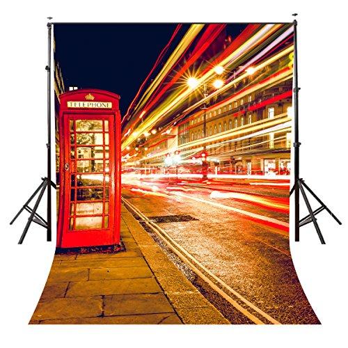 Pb Zone 5× 2,1London Night Streets View Foto Hintergrund rot Telefonzelle Hintergrund Fotografie Studio Hintergrund Requisiten Wand (Polyester Material) DW130