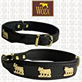 Woza Premium Hundehalsband Vollleder Kühe 2,5/42CM Lederhalsband Rindnappa ОШЕЙНИК SCHWARZ Messing Collar