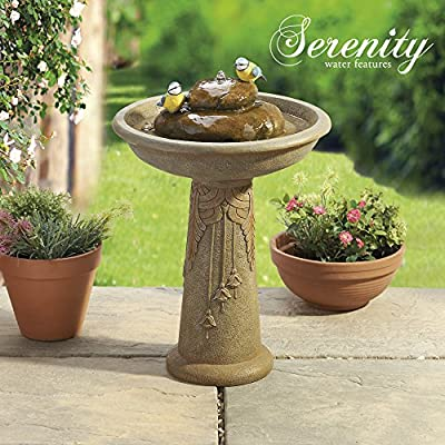Ornamental Bird Bath Water Feature Fountain Stone Effect Bowl for Garden with Blue Tits Weatherproof Poly Resin from Clifford James