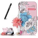 Slynmax Coque iPhone 6/6s,Housse Cuir des Fleurs des chaînes, Fleur Rose...