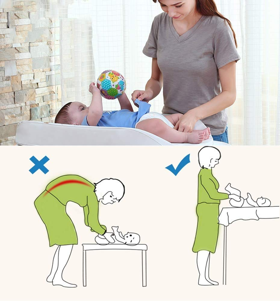 Changing Table Baby Changing Table Portable Mobile Infant Care Station with Storage Box Foldable Diaper Station for Anywhere Use (Color : B) Changing Table ●Foldable changing table- Easily fold it if you finish all the tasks,With its space saving design, you can store it behind a door, it will make life a little easier for parents. ●Size and Safe and Stable- L78 x W68 x H103cm,Suitable for babies weighing less than 25kg,With seat belt,Changing pad has a restraining strap for added safety and is made of easy to clean, soft ●2-in-1 design- Baby changing table can be used as baby massaging table as well. It is designed at the proper height of parent to prevent mom's back aches and pains from kneeling or bending when changing diapers to babies. 8