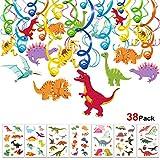 Howaf Dinosaurios Cumpleaños Colgar Decoraciones de Remolino Adornos de espirales (30Piezas) y Dinosaurios Tatuajes temporales para Infantiles Niños Regalo Fiestas de Cumpleaños Decoración
