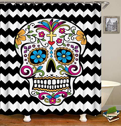 CaknQizawyy Schwarz-weißer Streifen-Mosaik-Hintergrund-Halloween-Schädel-Farbblumen-wasserdichter und Umweltschutz HD-Gurt hakt waschbaren Badezimmer-Duschvorhang EIN