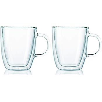 6c0f43b481077b Bodum - 10604-10 - Bistro - Set de 2 Mugs en Verre Double Paroi avec Anse -  30 cl