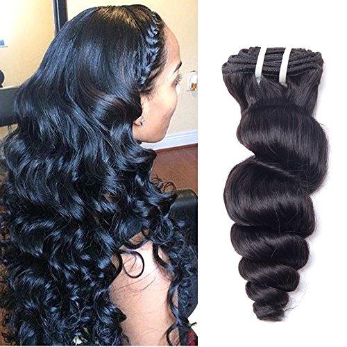 Full Shine 24 Zoll/60cm 7Pcs 100g Doppelter Schuss Klipp in den Afrikanischen Amerikanischen Haar Verlängerungen Loose Wave Clip in Haarverlängerungen Menschenhaar Klipp in den Haar Verlängerungen für Schwarze Frauen Kurzes Haar