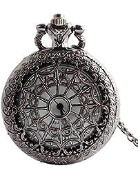 91a66f138bd2 Aihifly Reloj de Bolsillo de Cadena Larga Antiguo Vintage Negro Reloj  Unisex Redondo