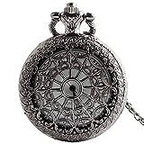 Easy Go Shopping Taschenuhr Schwarze Vintage Antike Lange Kettenuhr Unisex Runde Uhr
