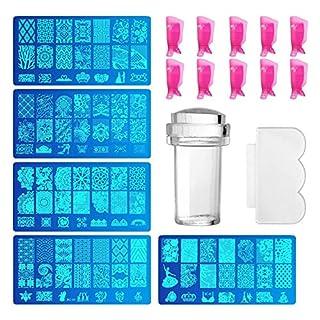 Comius 5 Pcs Maniküre Stempelschablonen Nail Art Plates + 10 Stück Kunststoff Nagel Werkzeug Nail Art Acryl UV Gel Clip Entfernung Reinigungswerkzeuge
