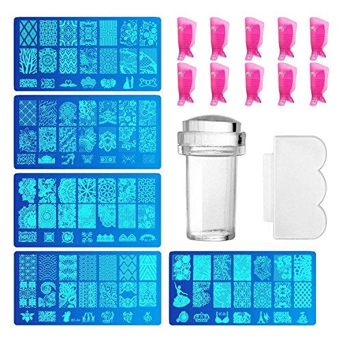 Comius 5 Pièces Nail Art Stamper et Pochoir Transparent pour Nail Art + 10 Pièces Outil En Plastique Nail Art Acrylique Clip UV Gel Outils Enlèvement Nettoyage