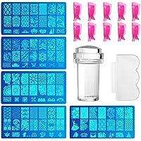 Comius 5 piezas Estampador de Uñas Nail Art Stamper y plantilla transparente para Nail Art + 10 piezas herramienta de plástico Nail Art clip acrílico UV Gel Tools eliminación de limpieza