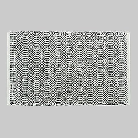 Dormitorio MOREY algodón hecho a mano Colchón puerta Mat puerta de la sala Cama borde del colchón otomanos geométricas simples (gris) ( Tamaño : 50*80CM