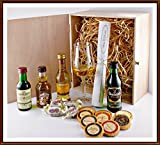 Exklusives Geschenk Set prämierte Whisky 4 Miniaturen mit Edel Schokoladen, Whisky Fudge, Single Malt Glas, kostenloser Versand