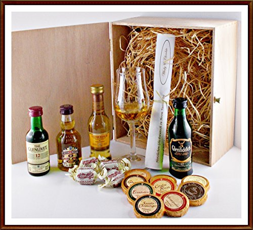 exklusives-geschenk-set-pramierte-whisky-miniaturen-mit-edel-schokoladen-whisky-fudge-single-malt-gl