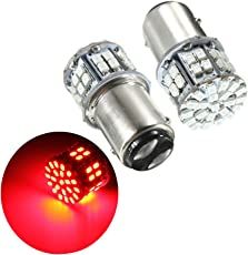 Ocamo Pack of 2 Super Bright BAY15D 1157 50SMD 1206 LED Car Brake Light, DC 12V 50 LEDs Auto Rear Tail Lights, Red Turn Signal Lamps Bulb
