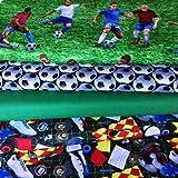 """Fußball-Stoffpaket mit Fußbällen, Fußballspielern und Fußballschuhen von Blank Textiles, 4 sog. """"Fat Quarters"""" (je 55 cm x 50 cm), 100 % Baumwolle"""