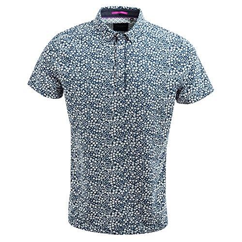 Guide London Marine Intelligente Petite Fleur Impression Coton Casual Polo T-Shirt SJ4737