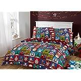 Novelux Juego de cama, funda de edredón y de almohada a juego, diseño navideño estilo patchwork con motivos de renos, copos de nieve, pingüinos y Papá Noel, 100% algodón, Rojo, King (230x220cm) + 2 Pillow Cases (45x75cm)