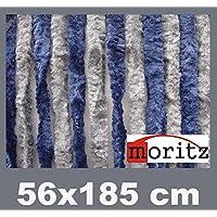 Moritz® Chenille Flauschvorhang Fliegenschutz 56 x 185 cm NEU 14 Stränge (blau / grau)