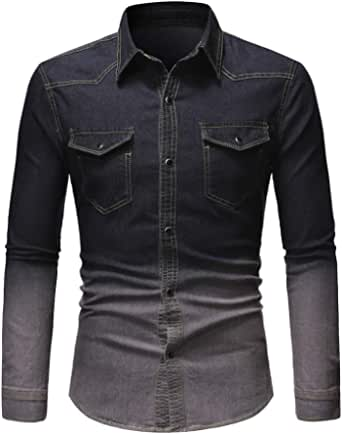 XLDD Men's Denim Shirts Mens Classic All-Match Autumn Winter New Long Sleeve Pleated Shirt Slim Fit Casual Washed Out Ribbed Stretchy Shirt Tops Casual Outdoor