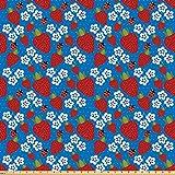 ABAKUHAUS Marienkäfer Stoff als Meterware, Erdbeeren und