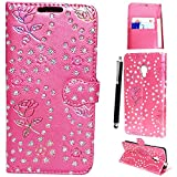 Alcatel Pop 4 4G(2016) - New Flip Wallet Book (Stand View)(Card Slots)(Magnetic Closure) Premium Leather Case Cover For Alcatel POP 4 4G(2016 Stuff) + Stylus Pen (GLITTER PINK BOOK)