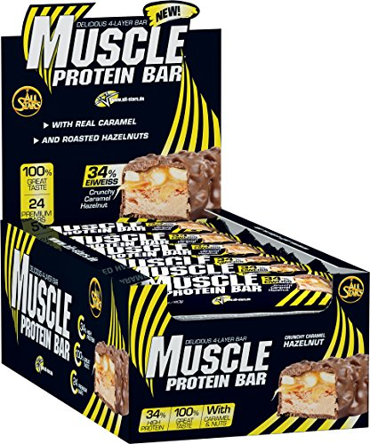 All Stars Muscle Protein Bar, Crunchy Caramel Hazelnut, 24er Pack (24 x 80 g) - Vorteil Karamell