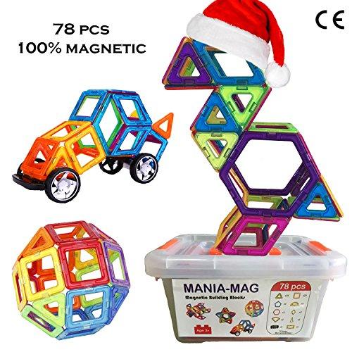 Magnetische Bausteine│78 größe magnetische Bauklötze / Fliesen ohne die Buchstaben und mit einer Aufbewahrungsplastikbox. Erzieherisch und kreativ Konstruktion Spielzeug │Für Jungen und Mädchen!