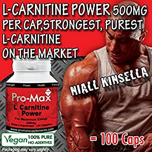 L-Carnitine POWER 100 Caps- 500mg per capsule, Strongest Advanced Energy, Performance and Recovery. Promotes Extreme Muscle Growth.Vegetarian/Vegan Capsules