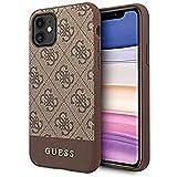 Guess Hülle Glitter 4G Stripe Collection für iPhone 11, braun