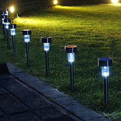 Exclura LED solaire de jardin en forme de Borne lumineuse à énergie solaire pour extérieur en acier inoxydable Path, jardin, allée, paysage, 5-Pack (lumière du jour)