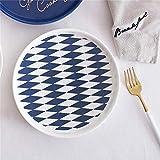 YUWANW Nordic blau-weiß Gestreiftes Keramikgeschirr Anzug Westliche Gerichte Schüssel Frühstück Schüssel Salatschüssel Reisschüssel zu Hause