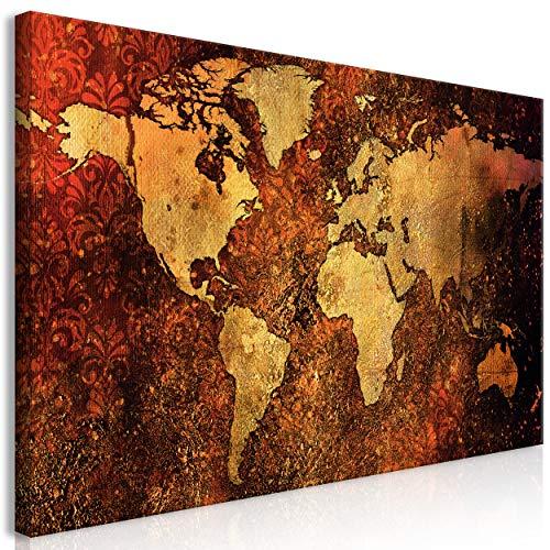 decomonkey | Mega XXXL Bilder Weltkarte | Wandbild Leinwand 170x85 cm Einteiliger XXL Kunstdruck zum aufhängen | Landkate Ornament