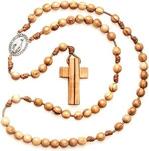 Chapelet catholique en bois d'olivier fait à la main en France avec médaille miraculeuse - Tempus Dei -
