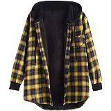 ZAFUL Chaqueta con capucha para mujer Otoño Plaid botón Up Pocket Drop Shoulder Loose Coat