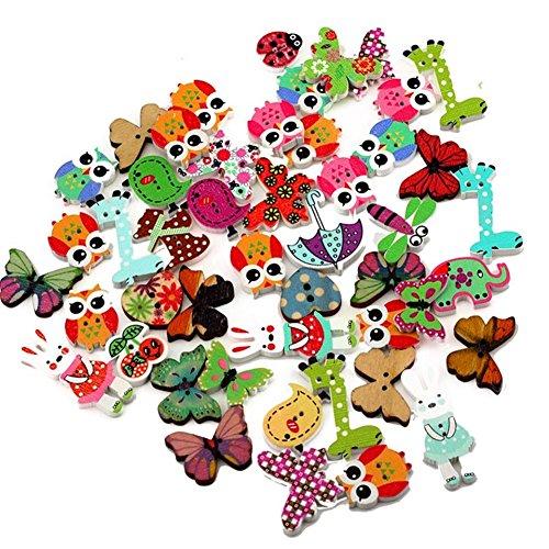 Westeng Cartoon Tier drucken Knöpfe mit 2 Löchern Verschiedene Farben aus Holz zum Nähen Scrapbooking Handarbeiten DIY 50 Stück/Packung (Handwerk Holz Drucken)