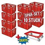Spar-Set: 10x Stapelkorb, Euro-Format 600 x 400 x 320 mm, Industriequalität, lebensmittelecht, rot + GRATIS Transportroller