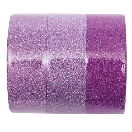 Glitzer Klebeband Tape Basteltape zum Basteln im 3er Set 3 x 5m Rosa Mix -