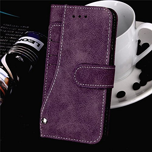 Wkae Case Cover IPhone 7 Plus de couverture de cas, de haute qualité mat Surface étui en cuir PU, fermeture magnétique Flip Stand Avec Dragonne Cash Card slot pour Apple IPhone7 plus ( Color : Purple  Purple