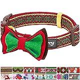 Blueberry Pet 2cm M Weihnachten Norweger-Inspiriertes Schneeflocken Designer Hundehalsband mit Fliege, Mittlegroβe Halsbänder für Hunde