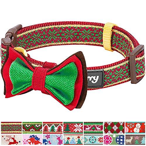 S Weihnachten Norweger-Inspiriertes Schneeflocken Designer Hundehalsband mit Fliege, Kleine Halsbänder für Hunde (Hund Kostüme Stehen)