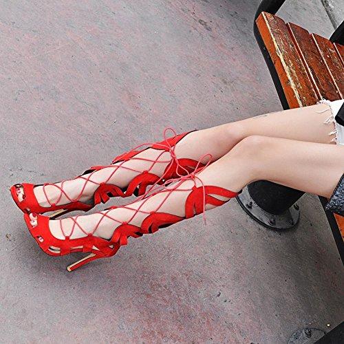 MissSaSa Donna Sandali col Tacco Alto Estivi Stivali Sexy Rosso