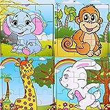 SIPLIV hölzernes 9-teiliges Puzzle für 2 bis 5 Jahre alte Kinder, 4er Set, Waldtiere B
