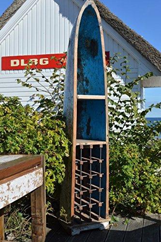 Ploß Weinregal, gefertigt in Bootsform aus dem Teak-Holz recycelter asiatischer Fischerboote,45 x 45 x 210
