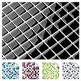 Set de 4 pegatinas de 25,3 x 25,3 cm de azulejos y baldosas negras con diseño 8 I 3D mosaico de diferentes colores y tamaños cocina baño Grandora W5193