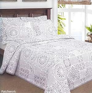dentelle patchwork couvre lit simple en gris. Black Bedroom Furniture Sets. Home Design Ideas