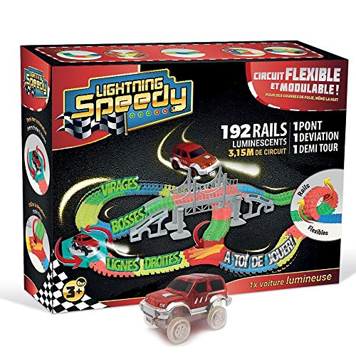 LIGHTNING SPEEDY Tracks Circuit de Voiture Flexible, modulable, Magic et Luminescent avec Ses Accessoires Ultra Fun - Méga Set