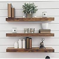 Genuine Decor 18 Inch Floating Shelves for Wall Set of 3, Rustic Wall Mounted Ledge Shelf for Bathroom, Bedroom, Living…