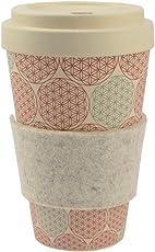 ebos Bambus Coffee-to-Go-Becher mit Schraubdeckel, Griffring aus Wollfilz   Versch. Designs