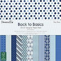 Trimcraft Dove Craft–Back To Basics–Pack de Papel (30,4x 30,4cm), 12diseños/3 deCada, Azul Cielo, acrílico